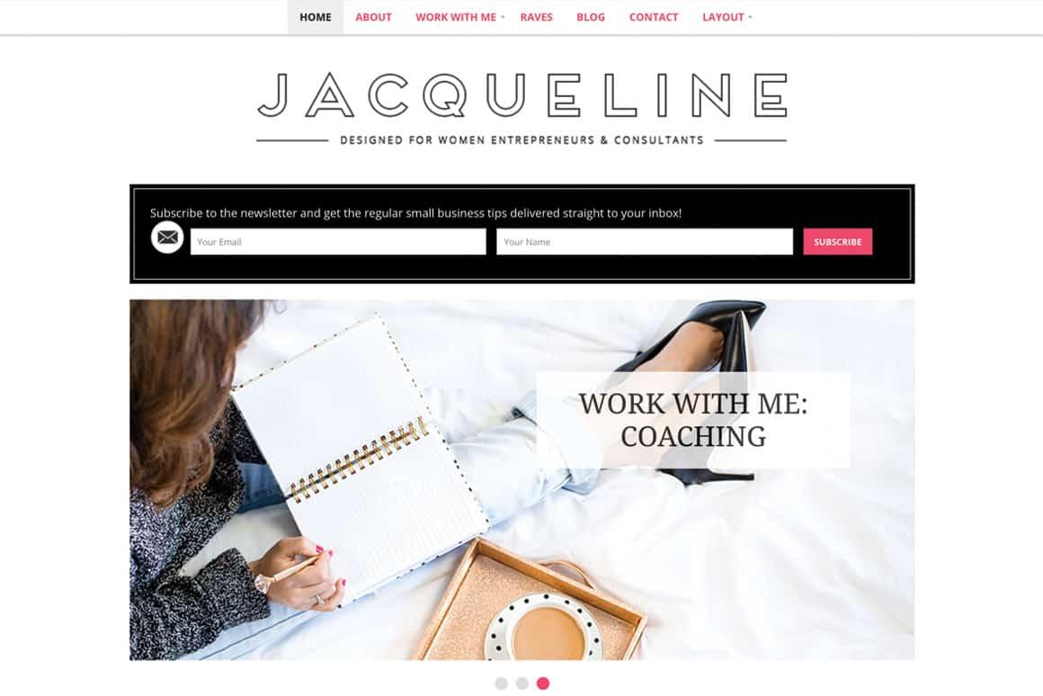 Jacqueline WordPress Theme - Minimalist blog themes wordpress themes - 10 Stunningly Beautiful & Unique Minimalist Themes For Your WordPress Blog   herpaperroute.com