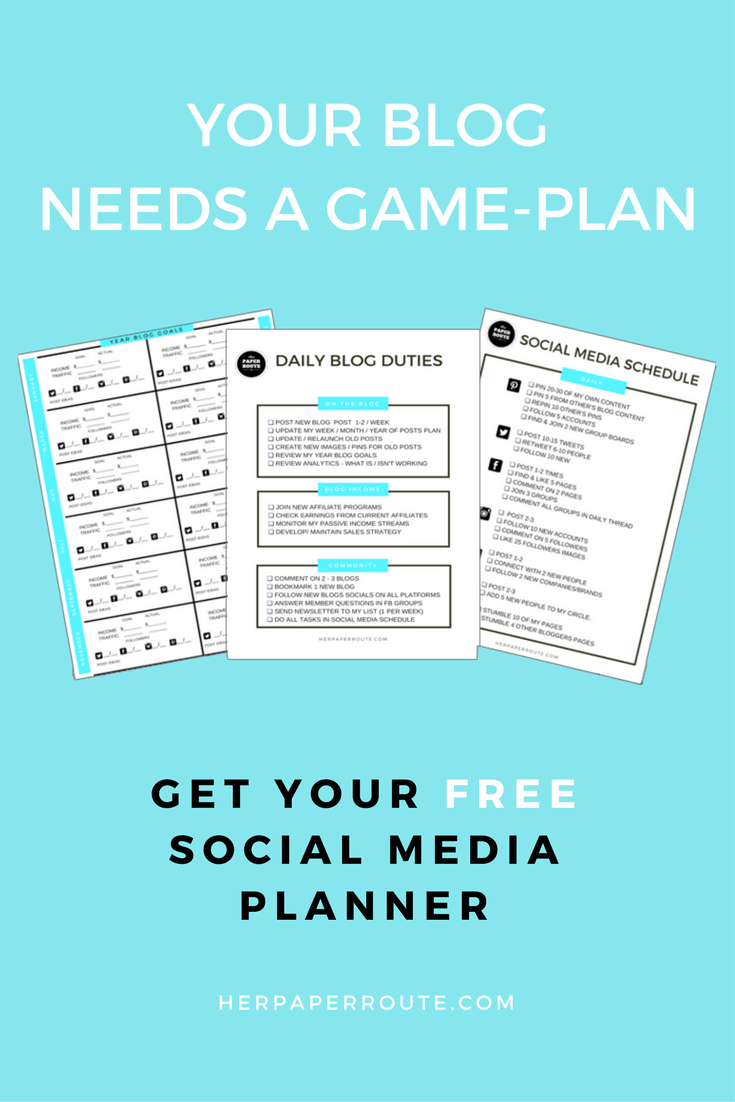 Free Blog Planner – Free Printables – Styled Stock Photos – Passive Income – Affiliates – Content – Social Media – Management – SEO – Promote   www.herpaperroute.com