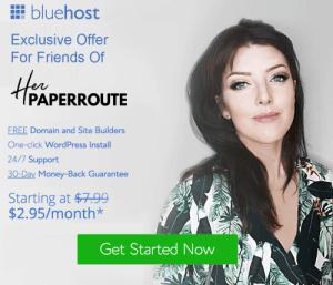 Bluehost start a blog herpaperroute.com