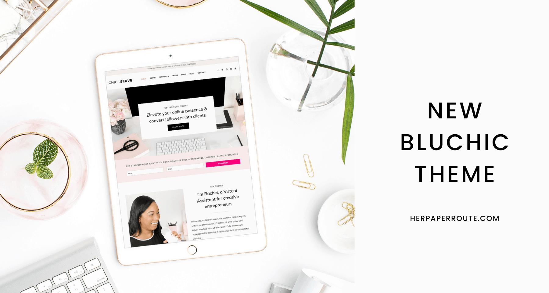 Beautiful New Bluchic Feminine WordPress Theme Free Install!